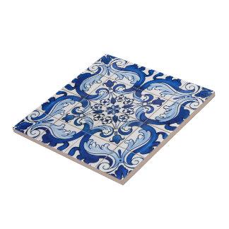 Portuguese Azulejo Pattern Small Square Tile