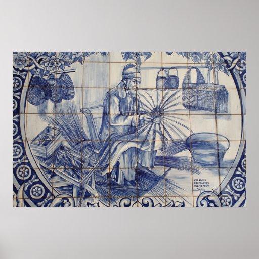 Portuguese azulejo tiles print