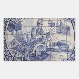 Portuguese azulejo tiles rectangular sticker
