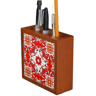 Portuguese Ceramic Tile Pattern Desk Organiser