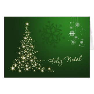 Portuguese Christmas, green & gold sparkling tree Card