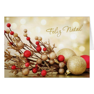 Portuguese Christmas - Red and gold baubles Card