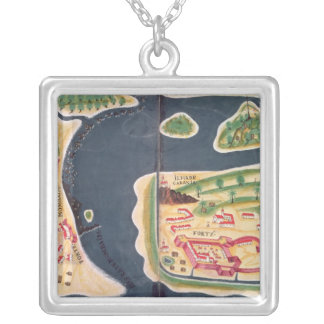 Portuguese exploration map of Mombassa Silver Plated Necklace