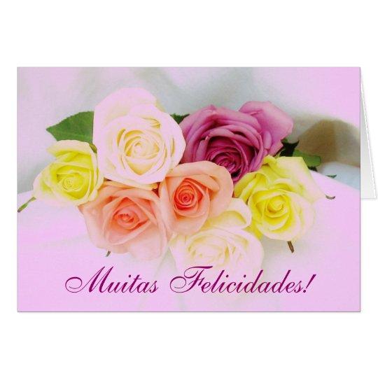 Portuguese: Felicidades! roses and Lilac colours Card