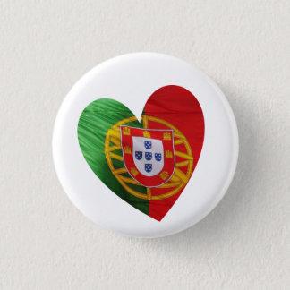 Portuguese: flag & heart 3 cm round badge