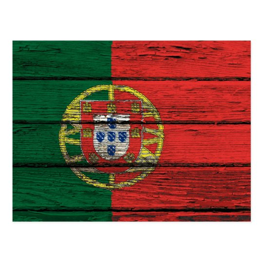 Portuguese Flag with Rough Wood Grain Effect Postcard