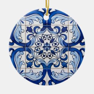 Portuguese Glazed Tiles Round Ceramic Decoration