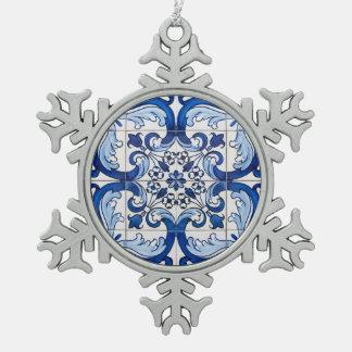 Portuguese Glazed Tiles Snowflake Pewter Christmas Ornament