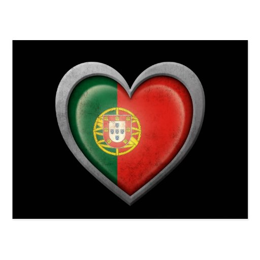 Portuguese Heart Flag with Metal Effect Post Cards