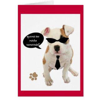 Portuguese: Hot pup/ São Valentim Greeting Card