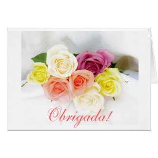 Portuguese: obrigada - Thank you roses Card