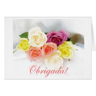 Portuguese: obrigada - Thank you roses Note Card