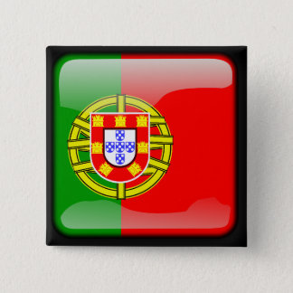Portuguese polished flag 15 cm square badge