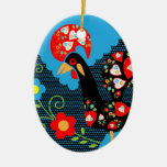 Portuguese Rooster Ceramic Oval Decoration