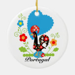 Portuguese Rooster of Luck Double-Sided Ceramic Round Christmas Ornament