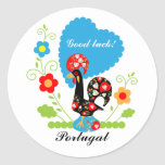 Portuguese Rooster of Luck Round Sticker