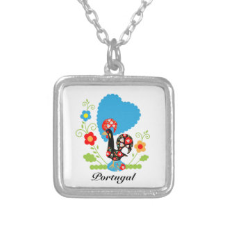 Portuguese Rooster of Luck Silver Plated Necklace