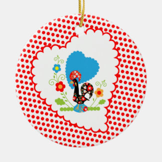 Portuguese Rooster with red polka dots Christmas Ornament