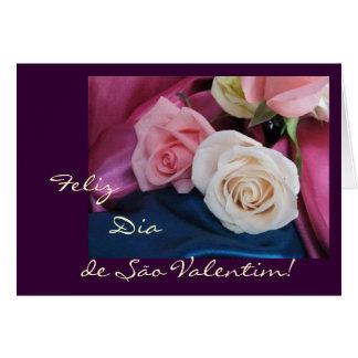 Portuguese: São Valentim - seda e rosas Greeting Card
