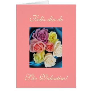 Portuguese: São Valentim Valentine silk & roses 3 Greeting Card