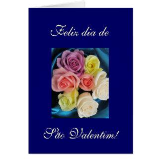 Portuguese: São Valentim Valentine silk & roses 4 Card