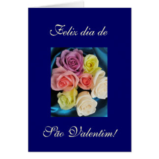 Portuguese: São Valentim Valentine silk & roses 4 Greeting Card
