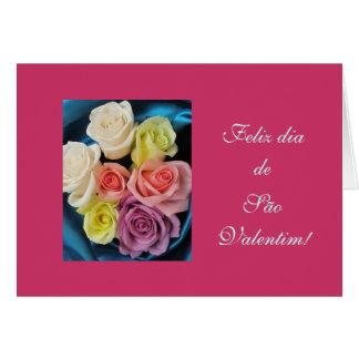 Portuguese: São Valentim Valentine silk & roses hz Greeting Card