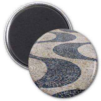Portuguese Sidewalk, Lisbon, Portugal 6 Cm Round Magnet