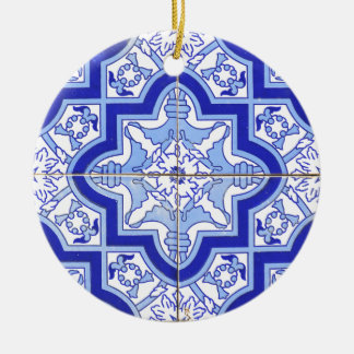 Portuguese Tile Blue and White Christmas Ornament