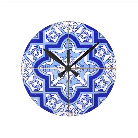 Portuguese Tile Blue and White Round Clock
