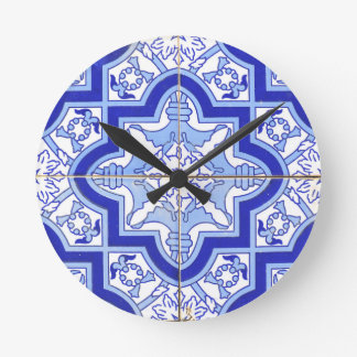 Portuguese Tile Blue and White Wallclocks
