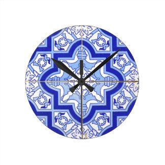 Portuguese Tile Blue and White Wallclocks