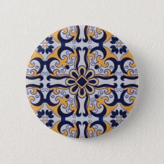 Portuguese tile pattern 6 cm round badge