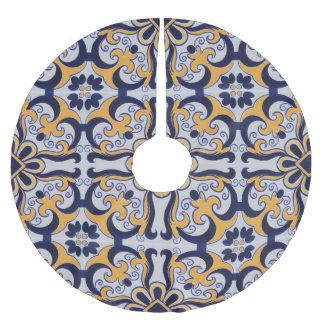 Portuguese tile pattern brushed polyester tree skirt