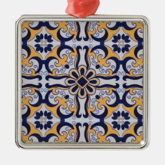 Portuguese tile pattern christmas ornament