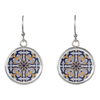 Portuguese tile pattern earrings