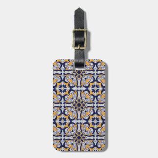Portuguese tile pattern luggage tag