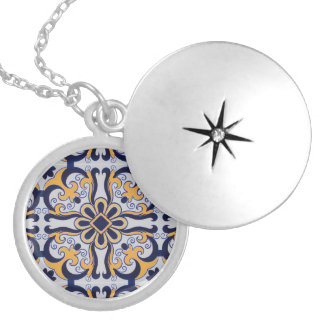 Portuguese tile pattern silver plated necklace