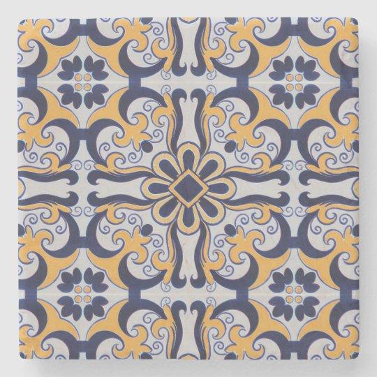 Portuguese tile pattern stone coaster
