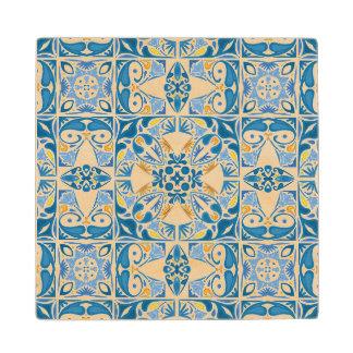 Portuguese Tile Pattern Wood Coaster
