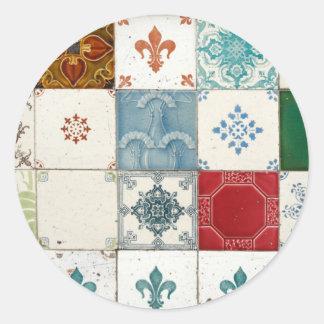 Portuguese tiles classic round sticker