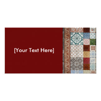 Portuguese tiles personalised photo card