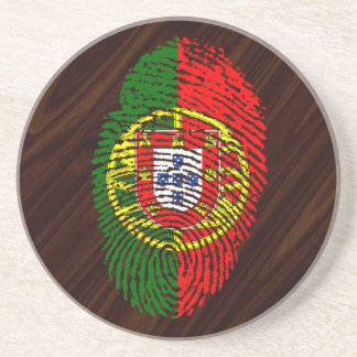 Portuguese touch fingerprint flag coaster