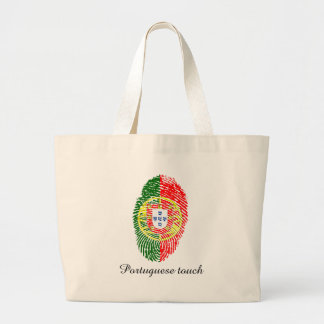 Portuguese touch fingerprint flag large tote bag