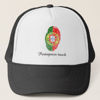 Portuguese touch fingerprint flag trucker hat