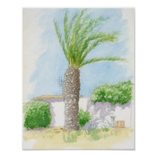 Portuguese tree and villa poster