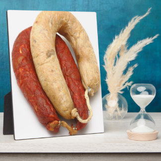 Portuguese typical sausages display plaques