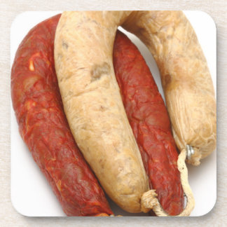 Portuguese typical sausages drink coaster