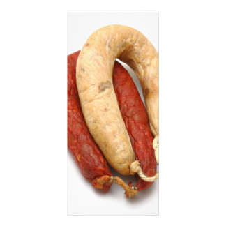 Portuguese typical sausages full colour rack card