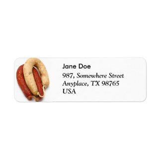 Portuguese typical sausages return address label